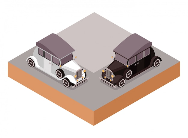 Isometric old classic vintage cadillac saloon car