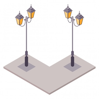 Isometric old classic vintage street lamp with european style