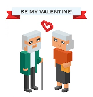 Isometric old couple in love celebrate valentines day