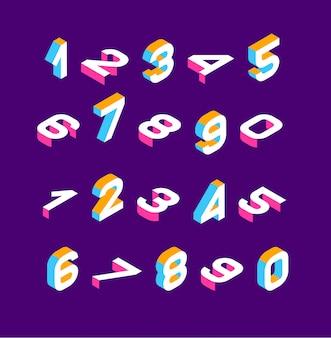 Изометрические цветные цифры 3d.