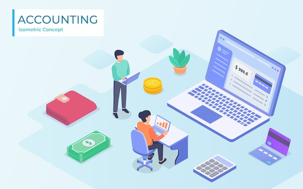 Isometric online accountant concept. woman accountant is preparing a tax report and calculating payment check basing on data.  illustration