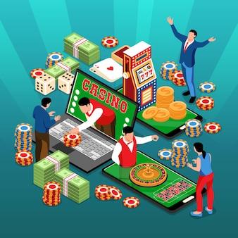 お金のチップカードと電子機器のイラストの人間のキャラクターのスタックと等尺性のオンラインカジノの正方形の構成