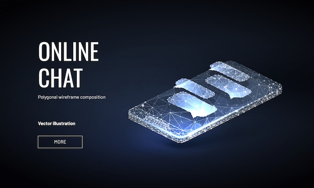 Isometric online chat background with polygonal wireframe style