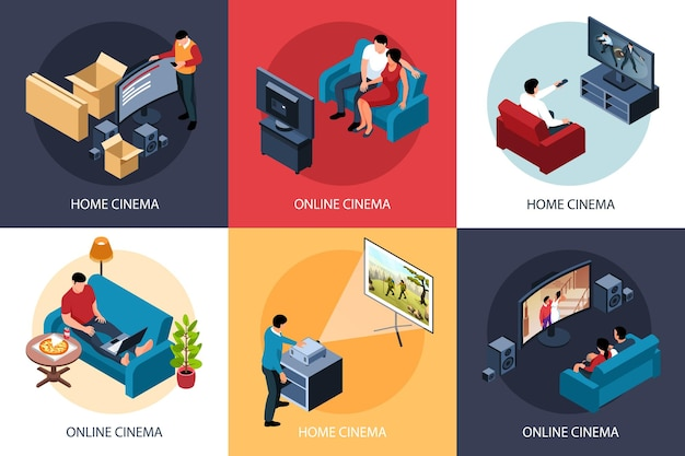 Isometric online cinema illustration concept set of compositions with people enjoying watching movie at home