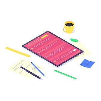 아이소 메트릭 온라인 컴퓨터 연구 및 교육 개념, 기술 학습 및 튜토리얼 네트워크 디자인 일러스트. 공부하고 흰색 배경에 고립 된 평면 디자인을 가르치는 교육