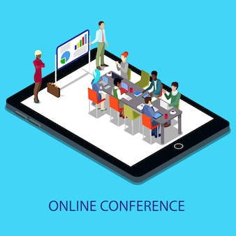 Isometric online conference business presentation with people on the tablet.