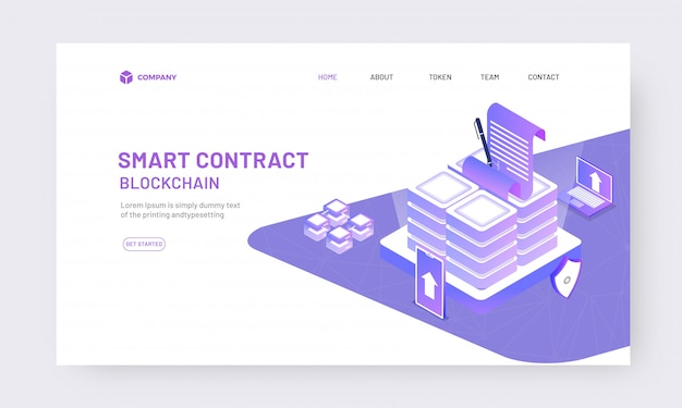 Isometric online contract from app concept