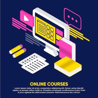 Isometric online courses illustration