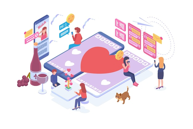 Isometric online dating vector concept