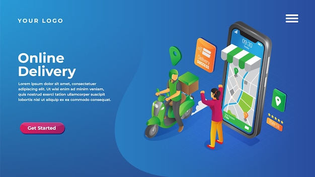 Isometric online delivery service for website and mobile apps landing page