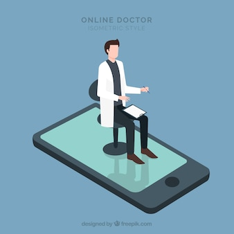 Isometric online doctor concept with smartphone