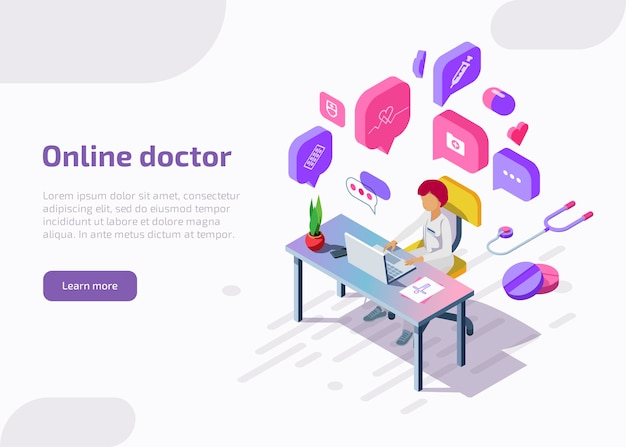 Isometric online doctor remotely providing consultation