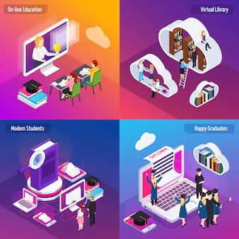 Isometric online education banner collection