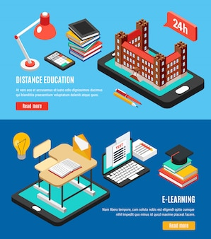 Isometric online education banner set