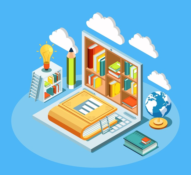 Isometric online education composition with laptop and books