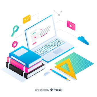 Isometric online education concept background