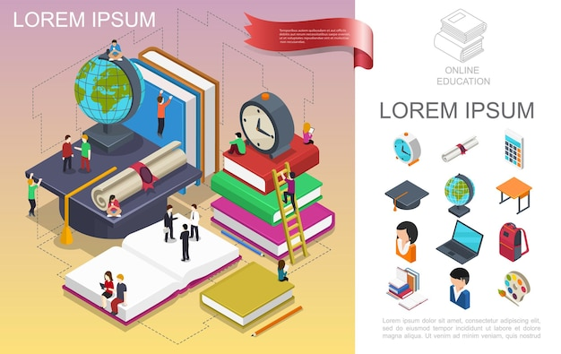 Isometric online education concept with people in learning process globe books alarm clock certificate table backpack painting palette graduation cap  illustration