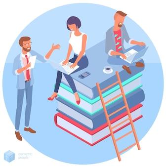 Изометрическая концепция онлайн-образования со стопкой книг мужчина и женщина, студенты, люди, персонажи, плоский шаблон для инфографики, веб-дизайн, баннер, плакат и мобильное приложение