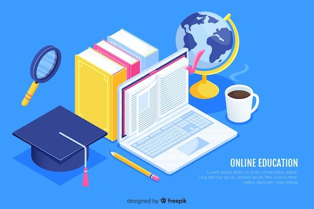 Isometric online education concept