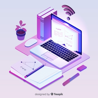 Isometric online education concept