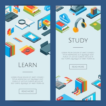 Isometric online education icons. 3d studying banners