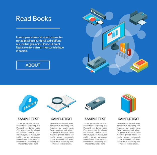 Isometric online education icons landing page template