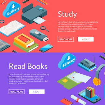 Isometric online education icons web banner templates