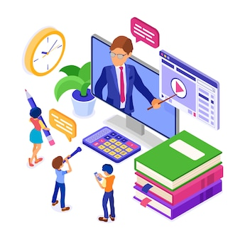 Isometric online education illustration