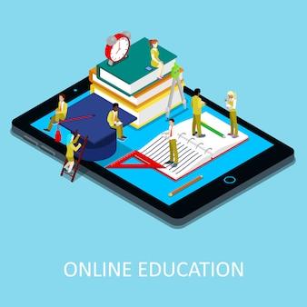 Изометрические онлайн образовательная иллюстрация
