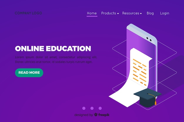 Isometric online education landing page