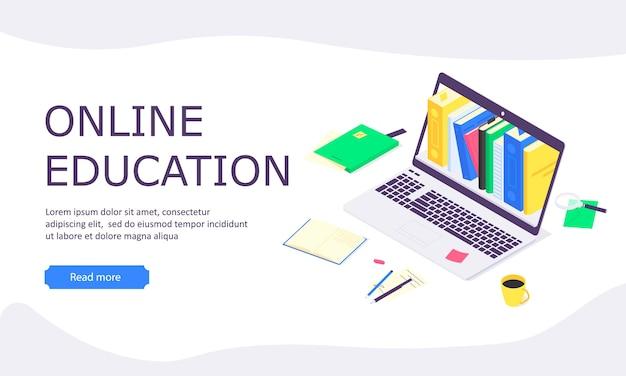 アイソメトリックオンライン教育のランディングページ