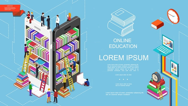 Isometric online education and learning concept with students bookshelves with books on mobile screens alarm clock laptop and tablet  illustration