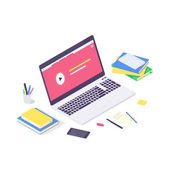 아이소 메트릭 온라인 교육 연구 및 교육 개념, 기술 학습 및 튜토리얼 네트워크 디자인 일러스트. 공부하고 흰색 배경에 고립 된 평면 디자인을 가르치는 교육