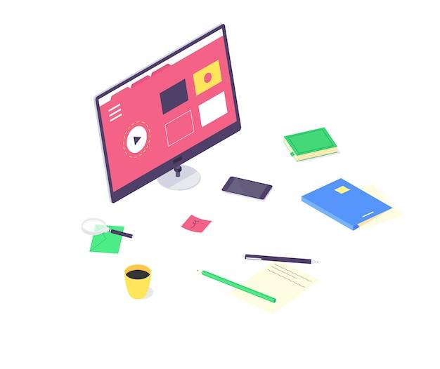 아이소 메트릭 온라인 교육 연구 및 기술 교육 컴퓨터 학습 및 도서 라이브러리 평면 디자인 일러스트. 공부 및 교육 개념 흰색 배경에 고립 된 교육