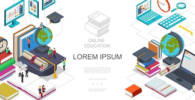 Изометрический шаблон онлайн-образования со студентами, сидящими и стоящими на книгах, глобус, ноутбук, планшет, лупа, сертификат, выпускной колпачок, иллюстрация