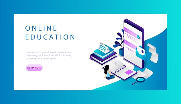 Isometric online education website landing page concept.