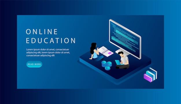 アイソメトリックオンライン教育ウェブサイトのランディングページの概念