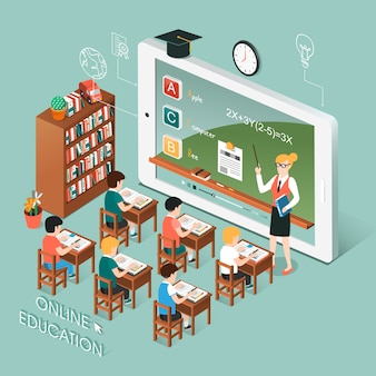 Isometric  of online education with tablet