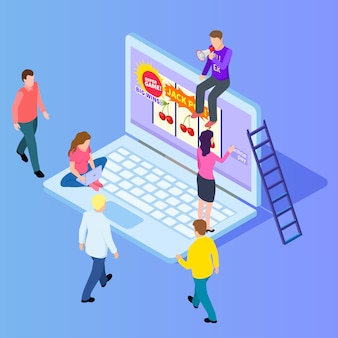 Isometric online gambling, casino, slot machine isometric vector illustration
