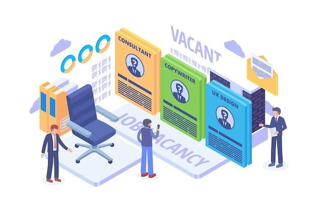 Isometric online job vacancy concept