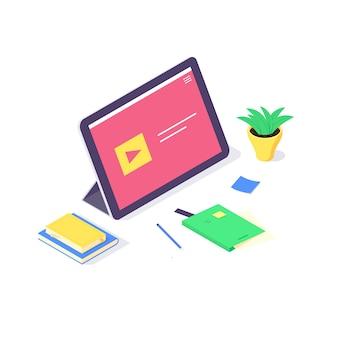 等尺性オンラインノートパソコンの研究と教育の概念、技術を学び、チュートリアルネットワーク設計図。白い背景に分離されたフラットなデザインを勉強して教える教育