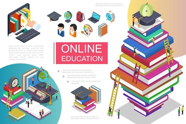 Изометрический шаблон онлайн-обучения с людьми, поднимающимися по лестнице на стопку книг, рука берет книгу с ноутбука и иллюстрации значков образования