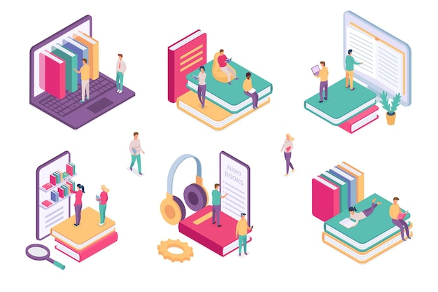 Isometric online library. ebook dictionary digital archive for student. school book on phone or computer. web literature learning vector set. online learning by phone, digital e-learning illustration