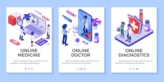 Isometric online medical diagnostics and doctors workplace banners. doctors advises patient online about virus with smartphone and laptop.   illustration