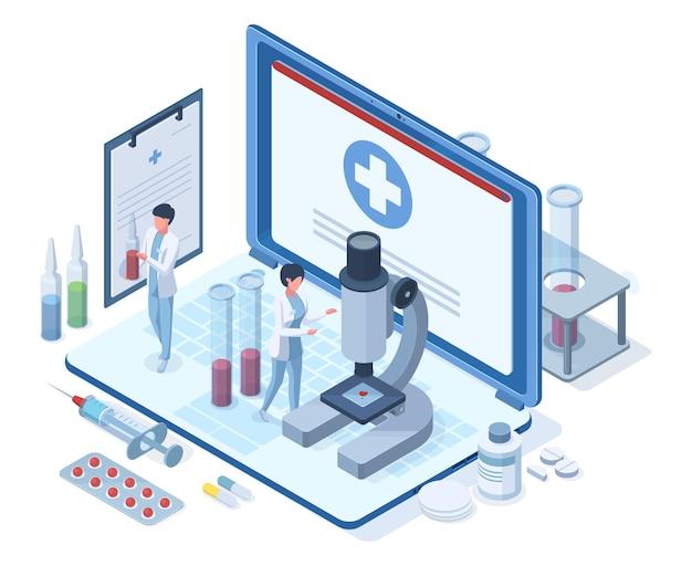 아이소메트릭 온라인 의료 의료 개념입니다. 약국 연구, 의료, 의료 진단 벡터 일러스트 레이 션. 온라인 의료 서비스 개념