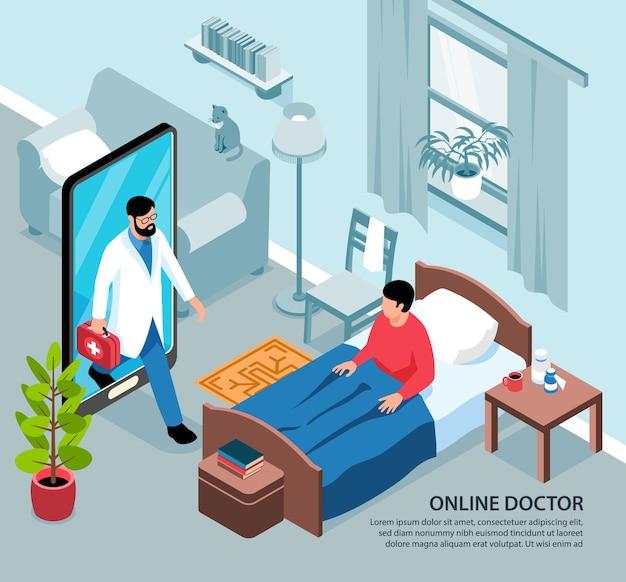 居間とスマートフォンの医者と病気の人の視点で等尺性のオンライン医学イラスト構成
