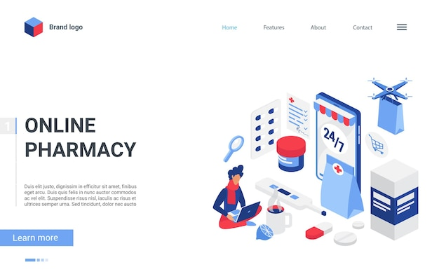 Isometric online pharmacy store concept illustration
