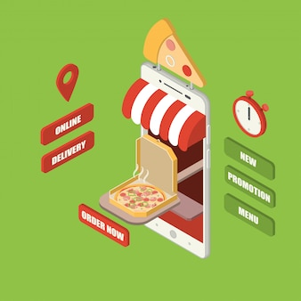 Isometric online pizza delivery smartphone
