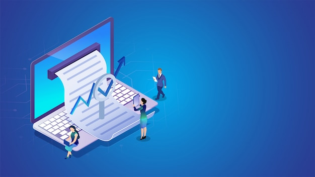 Isometric online reporting concept.
