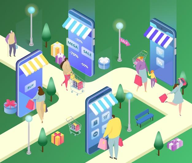 スマートフォンのベクトル図の等角投影オンラインショップ小さな男性女性キャラクターは暴徒で製品を購入します...
